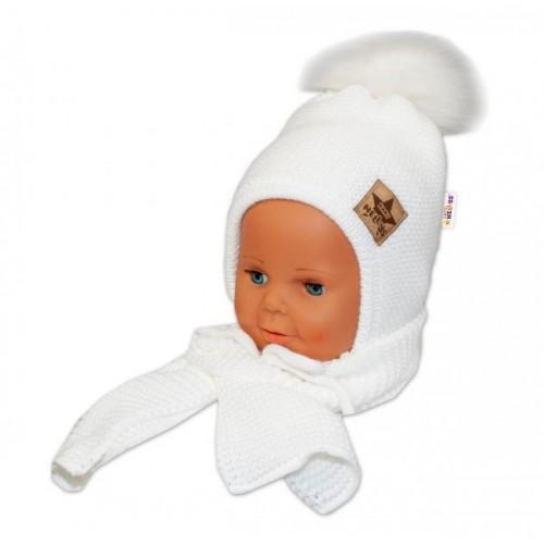 BABY NELLYS Zimní čepička s šálou - chlupáčková bambulka - bílá/bílá, 12/24měsíců