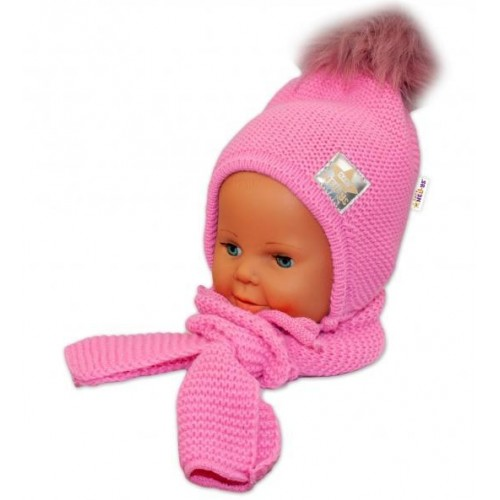 BABY NELLYS Zimní čepička s šálou - chlupáčková bambulka - tm. růžová/tm. růžová, 12/24měsíců