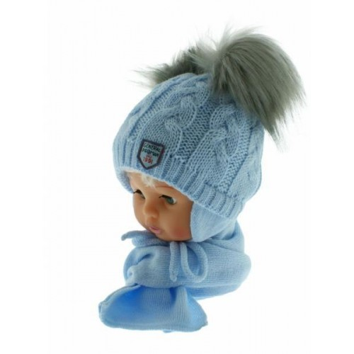 BABY NELLYS Zimní čepička s šálou - chlupáčkové bambulky - sv. modrá/šedé, 6/18měsíců
