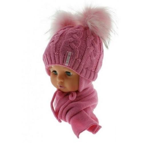 BABY NELLYS Zimní čepička s šálou - chlupáčkové bambulky - tm. růžová/sv. růžové, 6/18měsíců