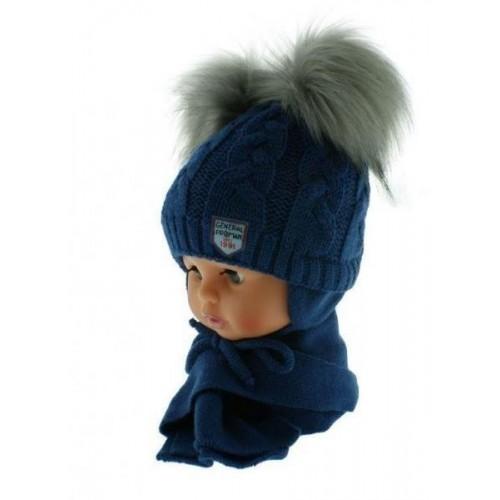 BABY NELLYS Zimní čepička s šálou - chlupáčkové bambulky - granátová/šedé, 6/18měsíců