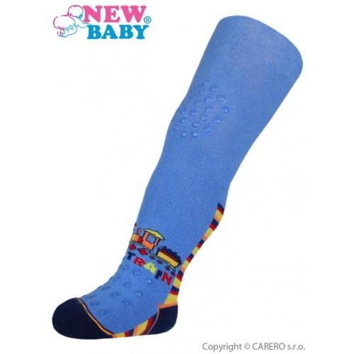 Bavlněné punčocháčky New Baby 3xABS modré toy train Modrá 104 (3-4r)