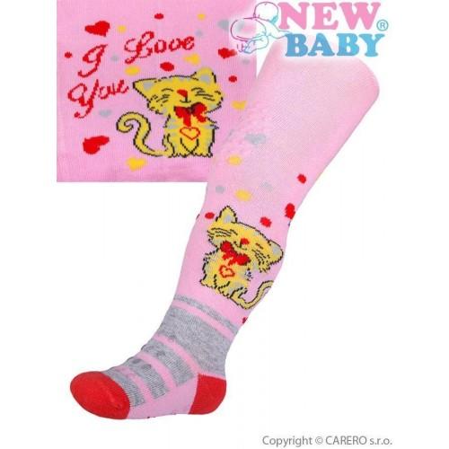 Bavlněné punčocháčky New Baby 3xABS světle růžové s kočičkou Růžová 68 (4-6m)