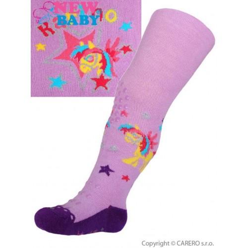 Bavlněné punčocháčky New Baby 3xABS fialové karino Fialová 92 (18-24m)