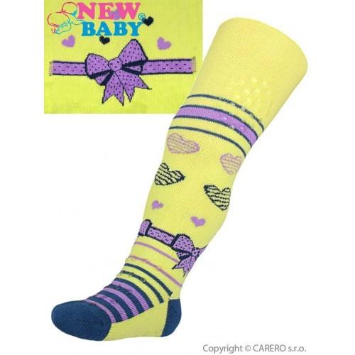 Bavlněné punčocháčky New Baby 3xABS žluté s mašličkou Žlutá 92 (18-24m)