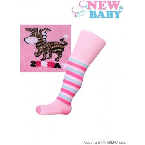 Bavlněné punčocháčky New Baby s ABS růžové zebra Růžová 104 (3-4r)