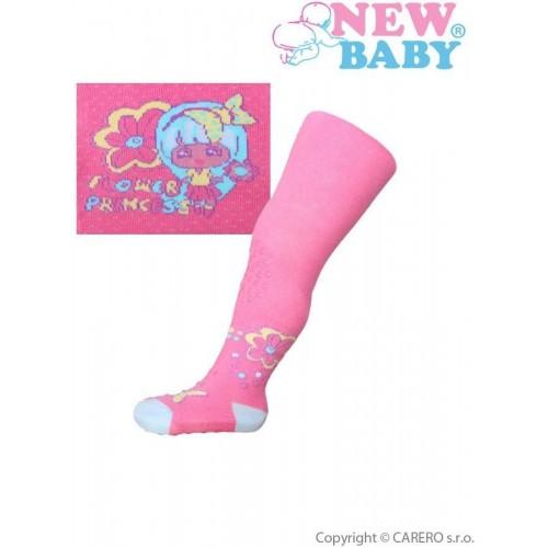 Bavlněné punčocháčky New Baby 3xABS růžové flower princess Růžová 92 (18-24m)