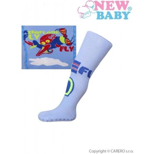 Bavlněné punčocháčky New Baby s ABS  modré fly Modrá 68 (4-6m)