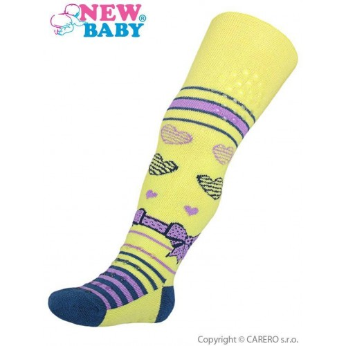 Bavlněné punčocháčky New Baby 3xABS žluté s mašličkou Žlutá 104 (3-4r)