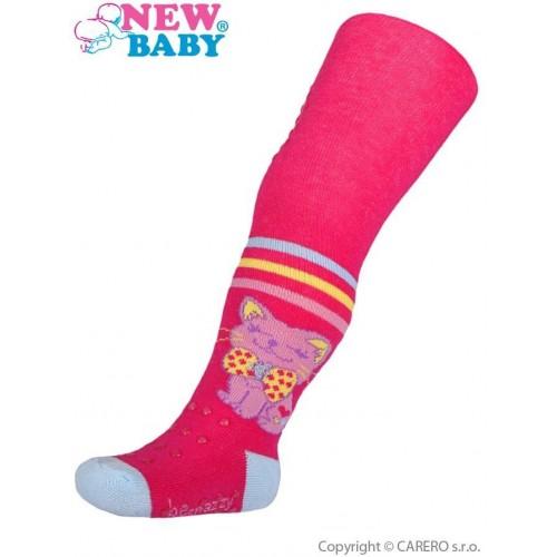 Bavlněné punčocháčky New Baby 3xABS růžové happy cat Růžová 104 (3-4r)