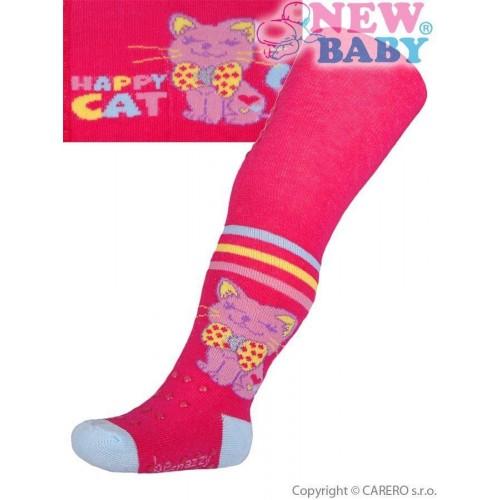 Bavlněné punčocháčky New Baby 3xABS růžové happy cat Růžová 92 (18-24m)