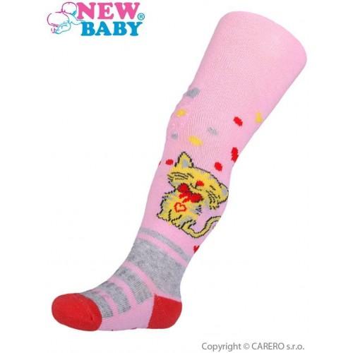 Bavlněné punčocháčky New Baby 3xABS světle růžové s kočičkou Růžová 104 (3-4r)