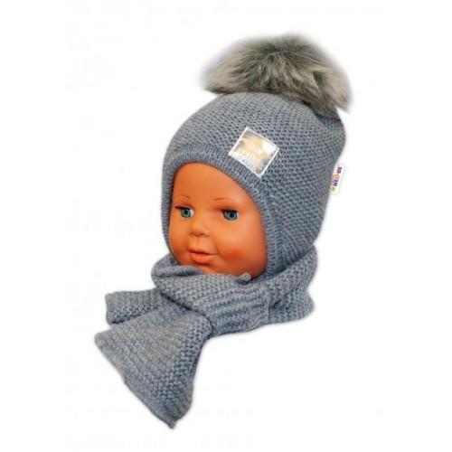 BABY NELLYS Zimní čepička s šálou - chlupáčková bambulka - tm. šedá/šedá, 12/24měsíců