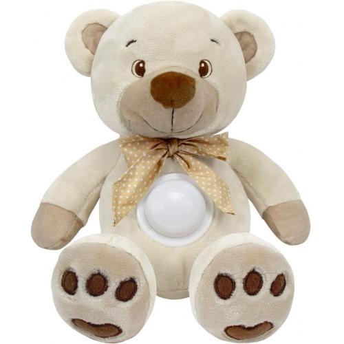 Plyšový medvídek s projektorem Baby Mix krémový
