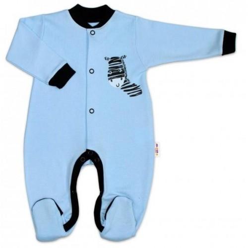 Baby Nellys Bavlněný overálek Zebra - modrý, 50 (0-1m)