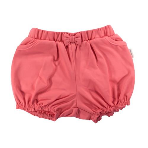 Kojenecké bavlněné kalhotky, kraťásky s mašlí Mamatti Baletka - korálové, vel. 104, 104