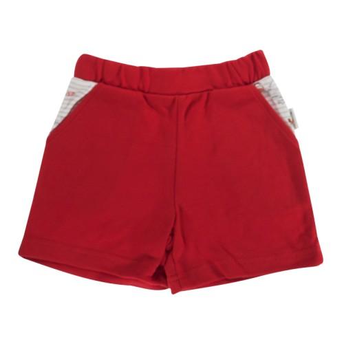 Kojenecké bavlněné kalhotky, kraťásky Mamatti Pirát - červené, 74 (6-9m)