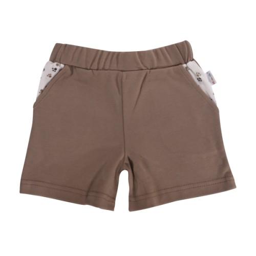 Kojenecké bavlněné kalhotky, kraťásky Mamatti Tlapka - hnědé, vel. 104, 104