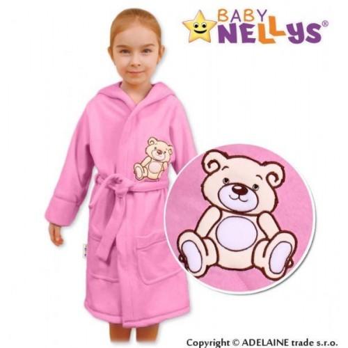 Baby Nellys Dětský župan - Medvídek Teddy Bear - sv. růžový, 86 (12-18m),92 (18-24m)