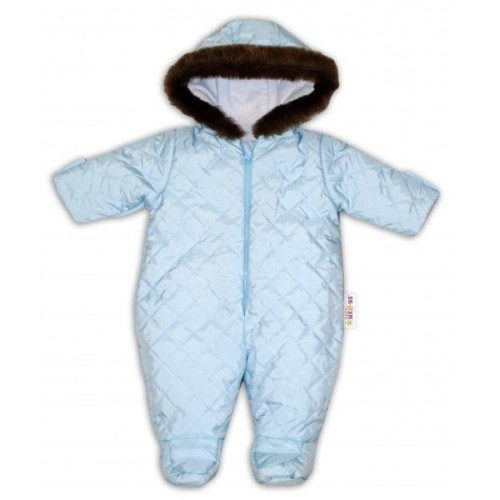 Kombinéza s kapucí a kožíškem Baby Nellys ®prošívaná, bez šlapek - sv. modrá, vel. 80, 80 (9-12m)