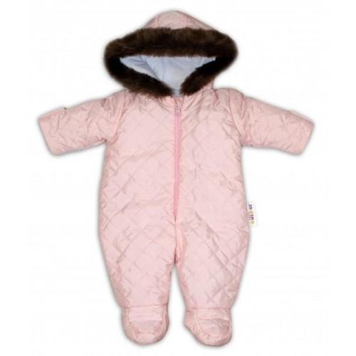 Kombinéza s kapucí a kožíškem Baby Nellys ®prošívaná - sv. růžová, 56 (1-2m)