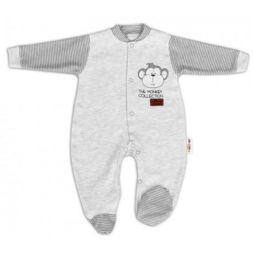 Baby Nellys Bavlněný overálek Monkey - sv. šedý melírek, 56 (1-2m)
