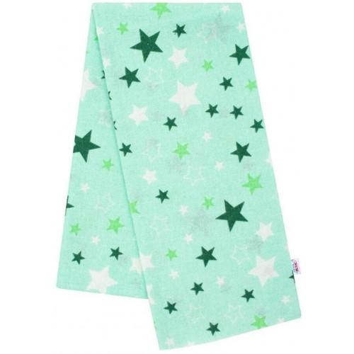 Flanelová plena s potiskem New Baby zelená hvězdy zelené