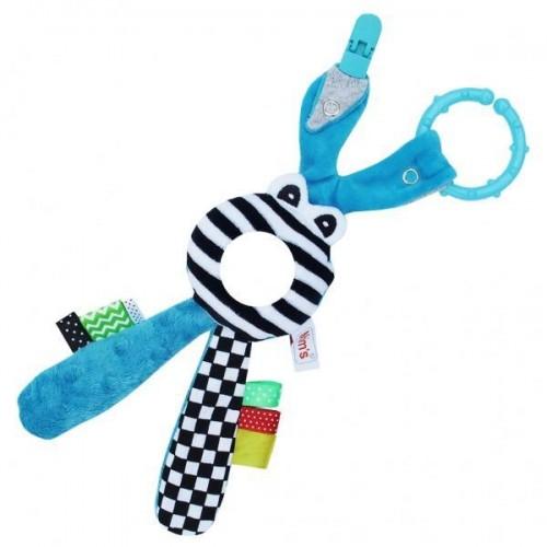 Edukační hračka Hencz s chrastítkem  - Zajíček - zrcátko -modrý