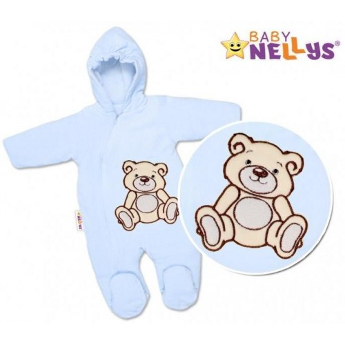BABY NELLYS Kombinézka/overálek Teddy Bear, velikost: 74 - sv. modrá, 74 (6-9m)