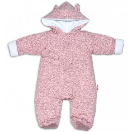 Baby Nellys ® Kombinézka s kapucí a oušky, Puntíky - růžová, vel. 68, 68 (4-6m)