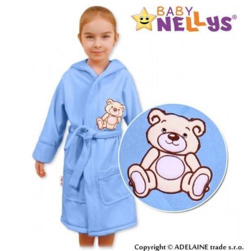 Baby Nellys Dětský župan - Medvídek Teddy Bear, 98/104 - sv. modrý, 104,98 (24-36m)