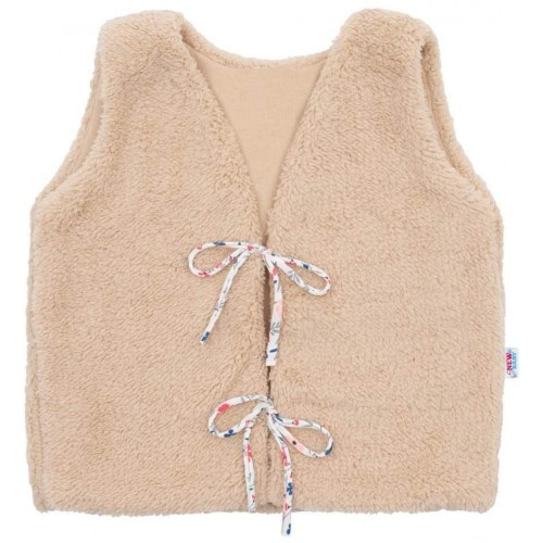 Dívčí bavlněná chlupatá vesta New Baby For Girls Hnědá 68 (4-6m)