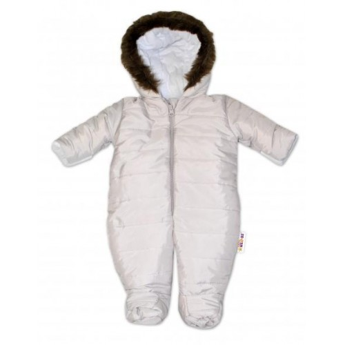 Kombinéza s kapucí a kožíškem Baby Nellys ®prošívaná - sv. šedá, vel. 62, 62 (2-3m)