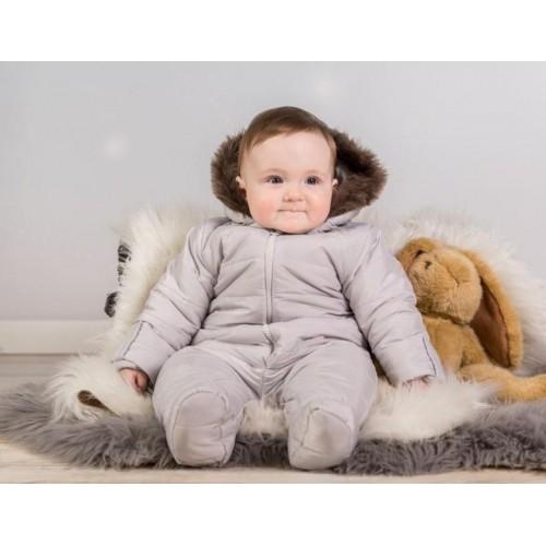 Kombinéza s kapucí a kožíškem Baby Nellys ®prošívaná - sv. šedá, vel. 68, 68 (4-6m)