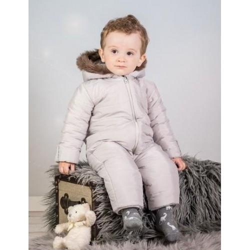 Kombinéza s kapucí a kožíškem Baby Nellys ®prošívaná, bez šlapek - sv. šedá, vel. 80, 80 (9-12m)