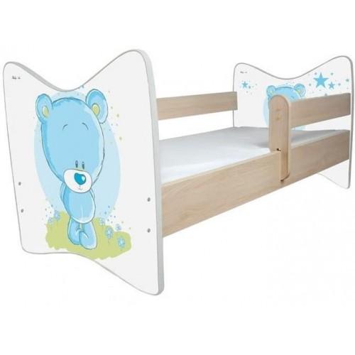 BabyBoo Dětská postel LUX Medvídek STYDLÍN modrý 140x70 cm.  D19, 140x70