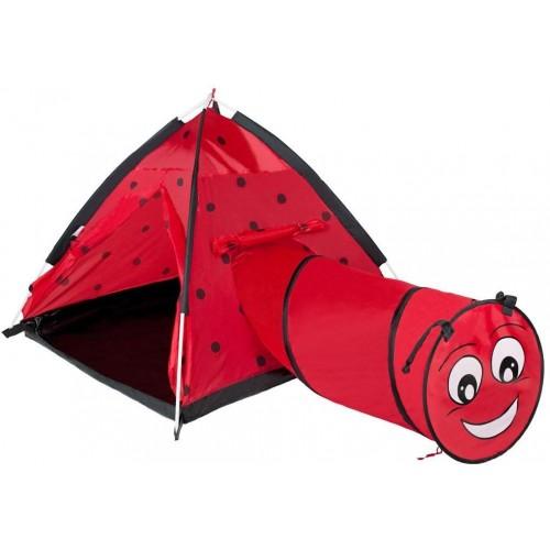 Dětský stan PlayTo Beruška s tunelem červený