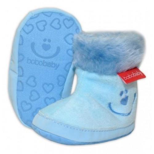 Zimní capačky/botičky BOBO BABY s kožíškem  - Méďa - sv. modré - 12/18M, 12/18měsíců