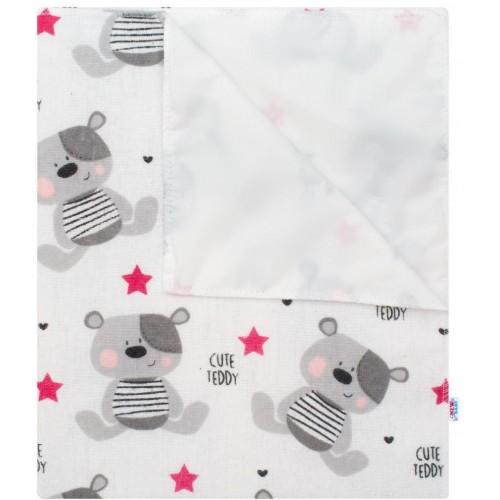 Nepromokavá flanelová podložka New Baby Cute Teddy růžová