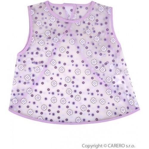 Dětský bryndák - zástěrka Akuku fialový s květinkami Fialová