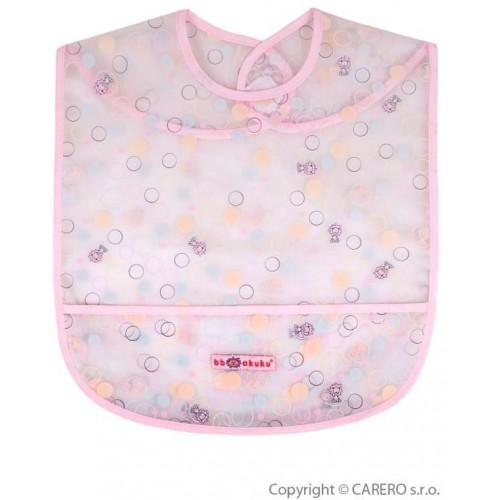 Dětský bryndák s kapsičkou Akuku růžový s bublinkami Růžová
