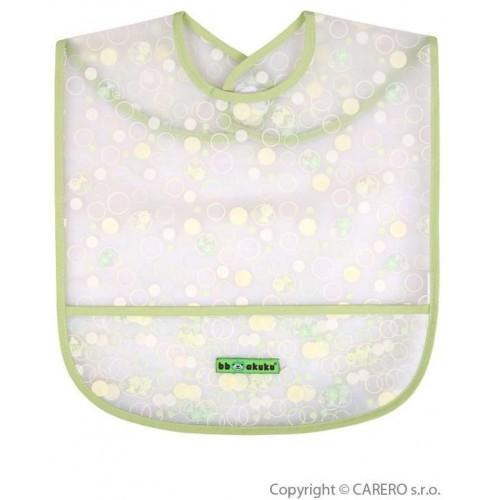 Dětský bryndák s kapsičkou Akuku zelený s bublinkami Zelená