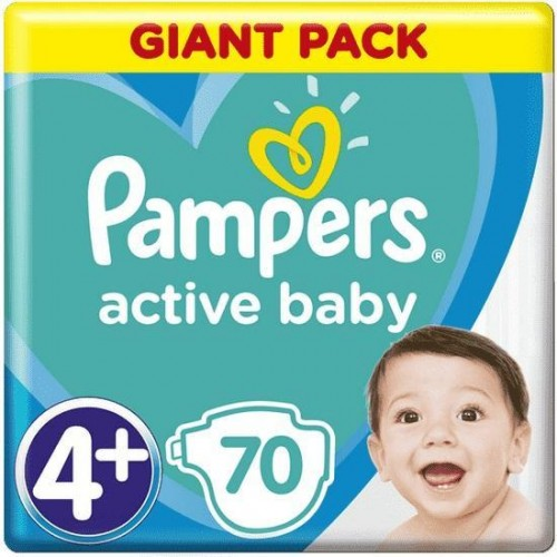 Plenky Active Baby 4+ MAXI+ 10-15kg 70ks Pampers