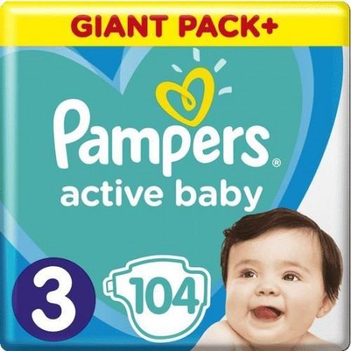 Plenky Active Baby 3 MIDI 6-10kg 104ks Pampers