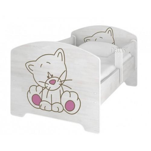 NELLYS Dětská postel Kočička růžová v barvě norské borovice + matrace zdarma, 140x70