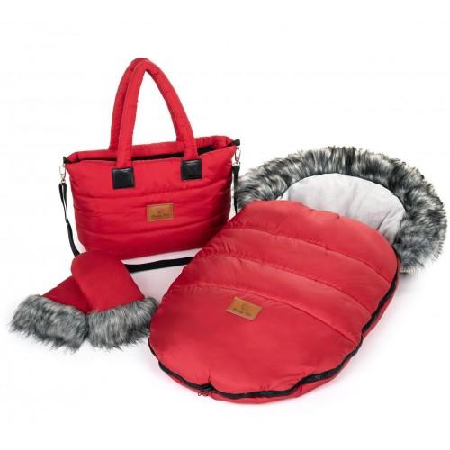 Zimní set HappyBee Trinity - fusak, rukavice, taška Red