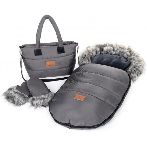Zimní set HappyBee Trinity - fusak, rukavice, taška Graphite