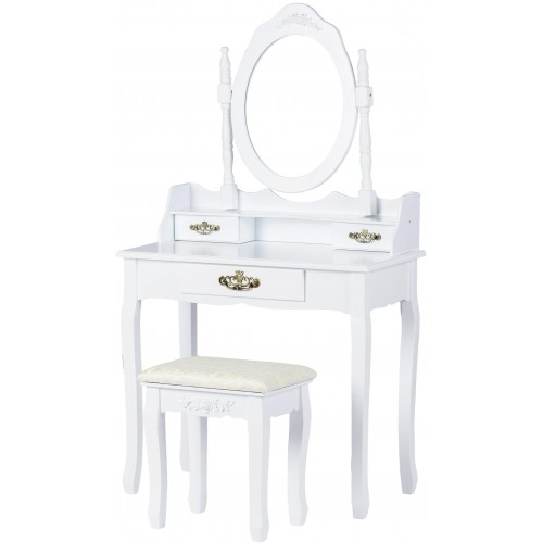 Kosmetický stolek ModernHome se stoličkou, zrcadlem a 3 zásuvkami