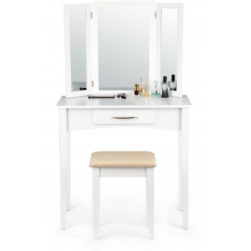 Kosmetický stolek ModernHome se šuplíkem, nastavitelným zrcadlem a stoličkou bílý