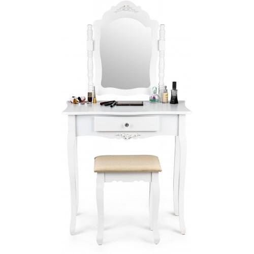 Kosmetický stolek ModernHome se šuplíkem, zrcadlem a stoličkou bílý